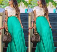 Wholesale Mint Maxi - Maxi Chiffon Long Skirts 2015 Free Shipping Pleats Floor Length Mint Green Chiffon Prom Skirt For Women