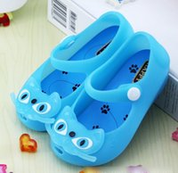 Wholesale Jelly Cat Animals Wholesale - Baby Girls Sandals Kids Flat Jelly Water Proof Cats Prewalker Sandal Shoes New Fashion Princess Girl Peep-toe Shoe 24-29 Yard K4581