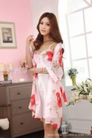 Wholesale Type Men Pajamas - Manufacturers, wholesale good quality silk robe sexy style home two ladies pajamas tracksuit