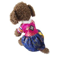 Wholesale Korea Summer Silk Dresses - 2017 New Korea Nationality Pets Clothes Tradition silk Embroidered Palace Hanbok Classical Elements The Perfect Gift