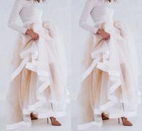 langer satin-goldrock großhandel-Neue Design Tüll Maxi Rock mit Satinband Rand Champagner Rüschen Stilvolle Röcke für Frauen Sexy Frau Lange Winter Röcke