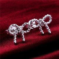 Wholesale Diamond Bow Studs - Brand new sterling silver Bow earrings DFMSE578,women's 925 silver Dangle Chandelier earrings 10 pair a lot faxtory direct