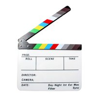 Wholesale 9 quot Acrylic Clapboard Dry Erase Director Film Movie Clapper Board Slate with Color Sticks D1028
