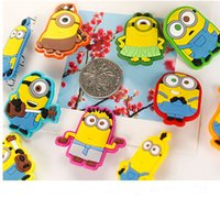 Wholesale Despicable Pvc Figures - Promotions 10 models Despicable Me Minions Brooch PVC plastic Cartoon badge Safety pins for kids clothes school bags Christmas gift 200049