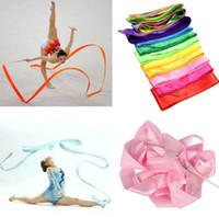 rhythmische gymnastikbänder großhandel-Bunte Eignungsbänder Tanz-Band-Gymnastik-rhythmische Gymnastik-Kunst-gymnastische Ballett-Ausläufer, die Rod-Geschenk 9 Farben freies Verschiffen drehen