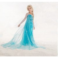 Wholesale Dress Baby Promotion - Promotion kids clothes Elsa ana Princess queen snow Dress girl baby Cartoon Costume Fancy Dress for wedding Vestidos Cosplay