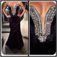 Wholesale Cheap Dresses Evening Gowns Online - 2016 Black Mermaid Prom Dresses Sexy Beaded Sweetheart Sleeveless Satin Cheap Long Evening Prom Gowns Online