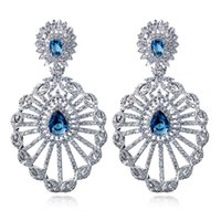 Wholesale Saphire Set - Luxurious bridal earrings pave setting with aaa cubic zirconia platinum plate blue saphire stone earring for party