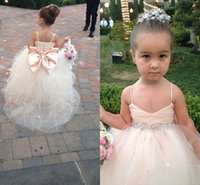 Wholesale Embellished Pageant Gowns - 2016 Latest Lovely Flower Girls Dresses from Eiffelbride with Shining Beaded Crystal Sash and Embellished Bow Back Pageant Gowns for Girls