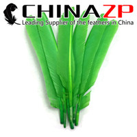 Wholesale manufacturers christmas decorations - Gold Manufacturer CHINAZP Crafts Factory 100 pieces per lot Good Quality Dyed Lime Green Turkey Pointer Quill Large Wing Feathers