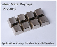 Others Others Laptop Wholesale-Wholesale Metal Keycaps Silver ASDFQWER 8 Keyset For Cherry MX Switches And Kailh Switches Mechanical Keyboard Free Shipping