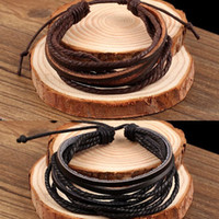 Wholesale Hand Braided Leather Bracelets - 100% hand-woven Fashion Jewelry Wrap multilayer Leather Braided Rope Wristband men bracelets & bangles for women 2014 PD26