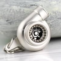 spinnen keychain großhandel-Turbo Keychain Auto Teile Modell Matt Silber Farbe Hülse Spinning Turbine Turbolader Schlüsselanhänger Schlüsselanhänger Ring Keyfob
