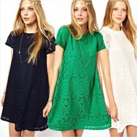 Wholesale Girls Floral Dress Green - FG1509 New Arrival Summer Women Floral Lace Dress Short Sleeve Princess Mini Dress Girls Lolita Loose Clubwear Plus Size