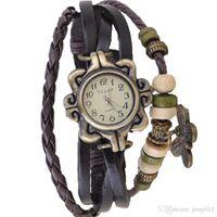 Wholesale Wrist Watch Beads - Watches Women Top Brand Luxury Multi-Layer PU Leather Beads Butterfly Wrist Watch Vintage Bracelet *41