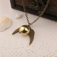 Wholesale Antique Golden - H-P Hot movie jewelry Pendant Necklace The Deathly Hallows Antique Bronze Snitch The Golden Snitch Charms Pendant Necklace 2 Colors