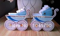 avrupa arabası şekerleme kutusu toptan satış-Tüm Satış 50 X Güzel Avrupa Mavi Bebek Arabası Şeker Kutusu Bebek Duş Hediyeler Çikolata Kutusu Şekeri