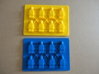 Wholesale Silicone Ice Cube Trays Wholesale - Lego Shaped Silicon Ice Cube Tray Mini Robot Figure Silicone Chocolate Cake Mold Tray DHL free Wholesale