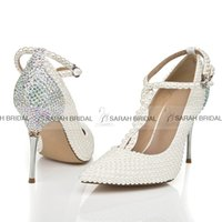 Wholesale Crystal Wedding Dress Shoes - T-Strap Ivory Pearls Wedding Shoes for Bride Rhinestone Pointed Toe Silver High Stiletto Heels Crystal Bridal Party Bridesmaid Dress Shoes