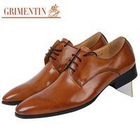 zapatos anaranjados al por mayor-GRIMENTIN Venta caliente diseñador de moda italiano para hombre zapatos de vestir de cuero genuino naranja formal de boda de negocios zapatos masculinos para hombres zapatos oxford