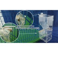 Wholesale Bird Cage Pet - Wholesale-Clear Acrylic Pet Parrot Bird Automatic Cage Feeder Size Small Single Hopper Free Shipping