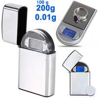 skalen gramm großhandel-Mini LCD Digital Pocket Feuerzeug Art Skala Schmuck Gold Diamond elektronische Gramm Skala mit Hintergrundbeleuchtung 100g / 0,01 200g / 0,01 auf Lager 20 Stück
