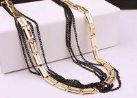 ingrosso collana della catena dell'oro nero spessa-Moda europea alla moda Catena piatta spessa oro Multi catene nere Collana maglione lunga catena di gioielli