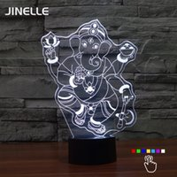Wholesale Crystal Table Lamp Vintage - Wholesale- Novelty Engraved Manjushree Ganesh Table Lights Xangsane 3D Night Light Bedside Lamp Ganesha Vintage 3d Crystal Night Usb Led