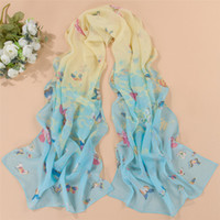 écharpe papillons achat en gros de-2016 nouvelle écharpe mince en mousseline de soie foulard en soie printemps et automne papillon accessoires femmes d'été cape solaire