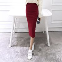 Wholesale Pencil Skirt Looks - Wholesale- A Little Thick 2016 Autumn Sexy Chic Pencil Skirts Office Look Natural Waist Mid-Calf Solid Skirt Casual Slim Hip Placketing