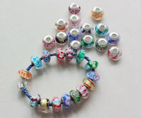 Wholesale Big Hole Lampwork Beads - DIY jewelry 925 logo stamped thread core murano glass beads mix lampwork glass beads big hole Murano Charm Bead For Bracelets   Necklace