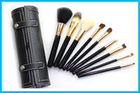 Wholesale High Quality Piece - New NAC Professional 9 Pieces Makeup Brushes with Leather Barrel High Quality