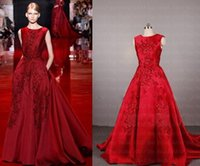 Wholesale samples evening wear - Real Sample Picture Elie Saab Evening Dress A Line Satin Evening Gown With Lace Appliques 2015 evening dresses prom gown Wedding Dress
