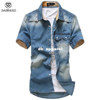 Wholesale Korean Men Denims Style - 2015 Gradient Men Shirts Short Sleeve Chambray Shirt Collar Button Up Korean Style Men Denim Shirts Chemise 819 On Sale