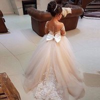 Wholesale faster ball christmas resale online - Custom Made Long Sleeve Sheer Neck Tulle Flower Girls Dresses Hand Made Applique Lace Kids Formal Party Dress Fast Ship Bow Back SweepTrain