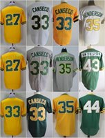 Wholesale Rickey Jackson - Oakland 27 Catfish Hunter 33 Jose Canseco 35 Rickey Henderson 44 Reggie Jackson 43 DENNIS ECKERSLEY Jerseys Cool Base Throwback St