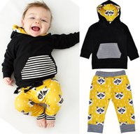 Wholesale Green Coat Baby - 2018 Baby Clothing Sets Boys Girls Toddler Hoodies Pants 2Pcs Set Striped Cartoon Fox Infant Coat Spring Autumn Boutique Clothes Outfits