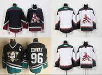 Anaheim Enten Throwback Blank Trikots 8 Teemu Selanne 9 Paul Kariya Retro Trikot Mighty Ducks Film Grün 1993 Lila 96 Charlie Conway