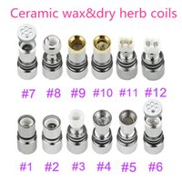 Wholesale Dry Herb Sets - 12 Glass Globe Ceramic Titanium Wicks replacement COIL Nail ATOMIZER vaporizer VAPE PEN Coil For globe Dome set Dual Wax Dry herb Coils