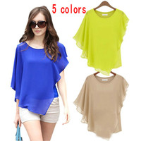 Wholesale Girl S Chiffon Sleeveless Shirt - Women irregular Flounced Chiffon Blouse Bat Sleeves Round Neck Chiffon T Shirt Tops Sexy Elegant Loose shirts Cheap Girls Blouses Tops