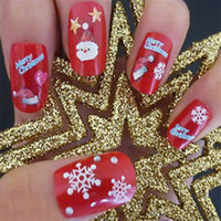 Wholesale Christmas Nail Polish Stickers - Phototherapy Christmas 3D Nail Stickers Snowflakes Nail Polish Applique Hot Stamping Snowman Claus Gift Decoration Snowflakes Nail Polish