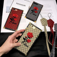 Wholesale Iphone Handmade Hard Case - For iPhone X 3D Embroidery Rose Case Lanyard Art Handmade Flower Design Shockproof Hybrid Leather+TPU Hard Cover for iPhone 8 Plus 7 6 6S