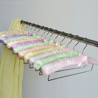 Scarves blanket hanger - Colorful Satin Padded Hanger for Pants Towel Scarf and Blanket With Locking Bar