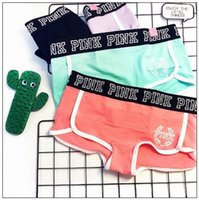 Wholesale Pink Cotton Knickers - Pink Letter Briefs Pink Panties Girls Cotton Summer Fitness Briefs Printed Underpants Knickers Panty Women's Underwear CCA7827 60pcs
