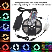 best led power leads  - DHL Free shipping Waterproof Strips IP65 5M 300 Leds 5050 RGB Led Strips 60 leds Remote controller 12V 5A power supply