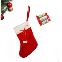 Wholesale Puts Stock - hot sale cute christmas decoration winter Christmas red stocking 2style for choose 17*12cm children Christmas gift put the candy