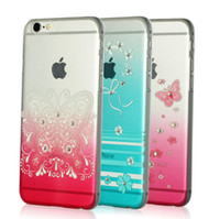 Wholesale Cell Phone White Skins - Crystal Rhinestone Bling Cell Phone Case Cover Shell For iphone 6 6plus 4.7 Skin Clear View 6s Diamond Covers