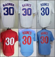 Maglie Throwback, 30 # Tim Raines Pinstipe Rosso Bianco Blu Throwback 1982 Jersey