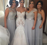 Wholesale long different style bridesmaid dresses - Hot Cheap 2015 Silver Chiffon Long Bridesmaid Dresses Cheap A-Line Beaded Lace Applique Formal Gowns Different Styles Maid of Honor Dress