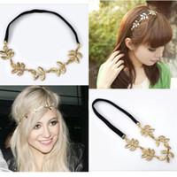 yeni zincir kafa bandı toptan satış-Moda HYL Yeni lady 1x altın Zeytin yaprağı bandı kafa parçası zincir altın elastik bant bırakır
